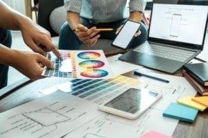 team of creative webgraphic designer planning draw 4QTDSZ3